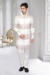 White & Brown Color Imported Indo Western Sherwani