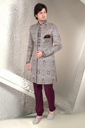 White Color Wedding Indo Western Sherwani
