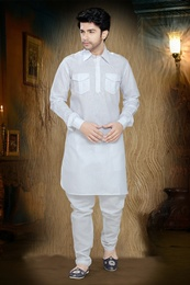 White Color Ethnic Design Kurta Payjama