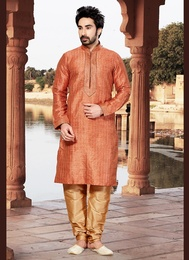 Raw Silk Orange Kurta Payjama