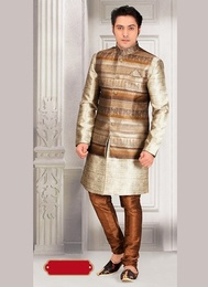 Attractive Beige Color Indo Western Sherwani