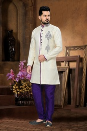 Traditionl Fancy Lookwhite Color Royal Sherwani