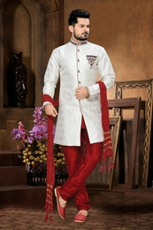 Classical Urban Ethnicwear Mens White Color Royal Sherwani For Wedding