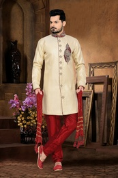 Gorgeous Look Mens Cream Color Royal Sherwani
