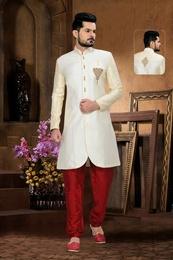 Charming Ethnic Look Mens Cream White Color Royal Sherwani For Rich Look