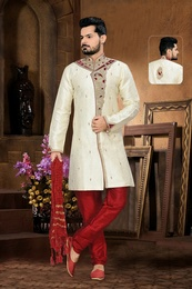 Vivid Cream Color Royal Sherwani For Men