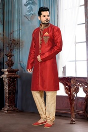 Kalamkari Red Designer Collection Royal Sherwani For Wedding