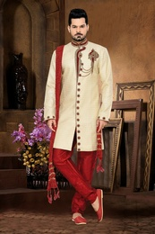 Antique Look Cream Color Royal Sherwani For Wedding