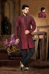 Designer Collection Kalamkari Maroon Color Royal Sherwani