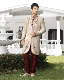 Glam Ochre Mens White Color Royal Sherwani