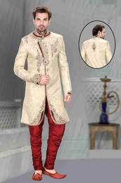 Mens Impressive Beige Color Royal Sherwani
