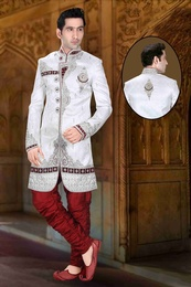 Complete Ethnic Look White Color Royal Sherwani For Men