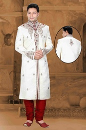 Mens Augmenting White Color Navratri Royal Sherwani
