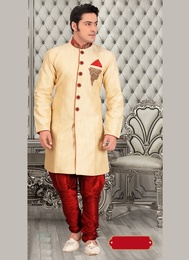 Distinctive Look Cream Royal Sherwani For Festivals