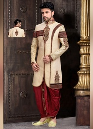 Classical Trendy Cream Color Royal Sherwani