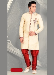 Impressive Look Mens Cream Color Royal Sherwani