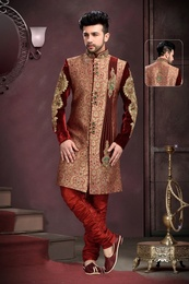 Unique Lookmaroon Festive Royal Sherwani