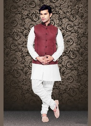 Royal And Rich Maroon Color Linen Nehru Jacket