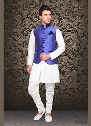 Royal And Rich look Blue Color Imported Nehru Jacket