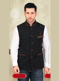 Trendy Traditionally Blue Color Imported Nehru Jacket