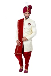 Cream Artsilk Indowestern Sherwani