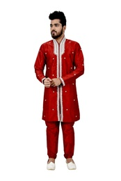 Maroon Artsilk Embroidered Sherwani