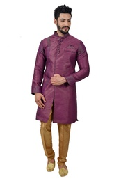 Purple Artsilk Indowestern Sherwani