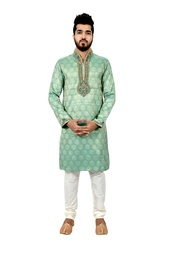 Aquamarine Brocadesilk Wedding Kurta Pajama