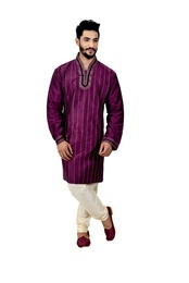 Purple Artsilk Wedding Kurta Pajama