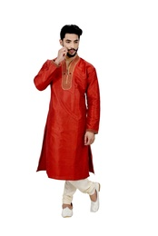 Red Artsilk Unique Kurta Pajama