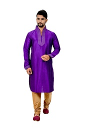 Purple Artsilk Kurta Pajama