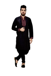 Black Artsilk Wedding Kurta Pajama