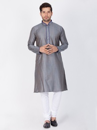 Stylish Look Online Grey Kurta Payjama For Men