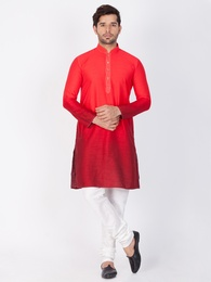 Superb Red And White Cotton Kurta Payjama
