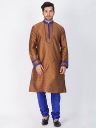 Wedding Collection Brown And Blue Cotton Kurta Payjama