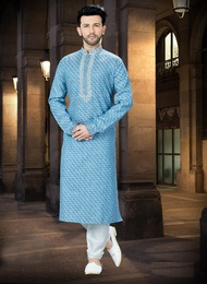 Bright Blue Online Kurta For Men