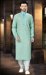 Elegant Look Green Khadi Kurta Online For Men
