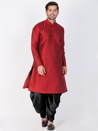Online Readymade Ethnic Wear Maroon Kurta For Men