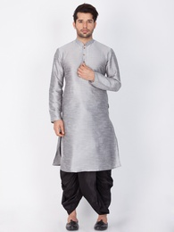 Stylish Look Grey Cotton Readymade Kurta Dhoti