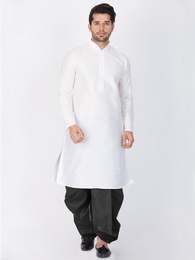 Trendy Look White Cotton Silk Kurta Dhoti Online