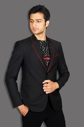 Notch Lapel Style Trendy Black Blazer BL5017