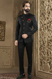 Black Bandhgala Jodhpuri Suit With Red Accents