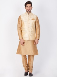 Gold Kurta Pajama With Gold Jacket