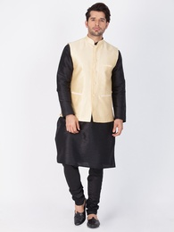 Black Kurta Pajama With Gold Jacket