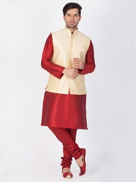 Maroon Kurta Pajama With Gold Jacket