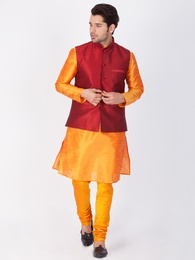 Orange Kurta Pajama With Maroon Jacket