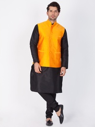 Black Kurta Pajama With Saffron Jacket