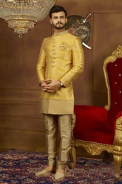 Rich Look Yellow Indo Western Sherwani For Marriage