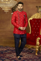 Fashionable Red Jodhpuri Indo Western Sherwani