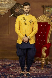 Prince Look Yellow 3 Piece Indo Western Sherwani